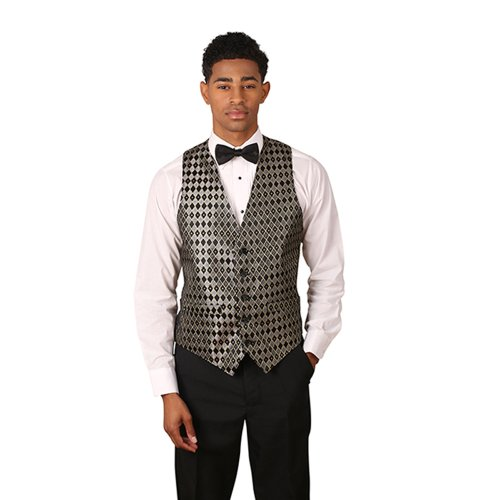 Men's Black & Silver Stitched Diamonds Pattern Jacquard - Manufacturers Usa Suit