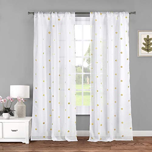 Lala + Bash Becca Metallic Clover Pole Top Window Curtain Drapes for Bedroom, Livingroom, Kids Room, Children, Nursery-Assorted Colors-Set of 2 Panels, 38 x 84 Inch, White & Gold