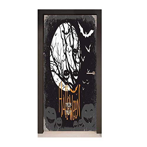 Vintage Halloween Door Wallpaper Halloween Themed Image with Full Moon and Jack o Lanterns on a Tree Decor Door Mural Black White,W23xH70 -