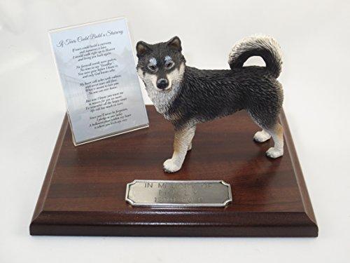 Beautiful Walnut Finished Personalized Memorial Plaque With Alaskan Malamute Figurine