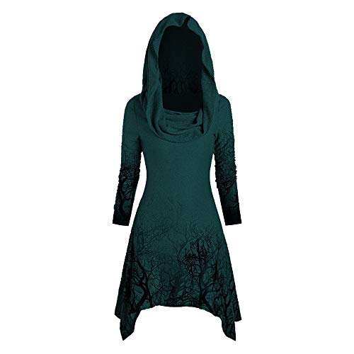 Top Halloween Party Colleges (Aniywn Halloween Tops Blouse Women's Print Vintage High Low Hem Hoodies Cloak Ribbed Sweater)