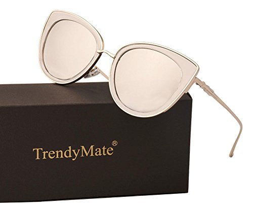 TrendyMate Women Metal Cute Cat Eye Sunglasses Mirror Lens Coating Sunglasses Fashion Eyewear (silver, - Frame Sunglasses Silver