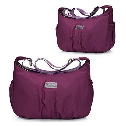 Purse for Waterproof and Kobwa Purple Theft with Gorgeous Lightweight Organize Handbag Travel Messenger Anti Bag Bag Crossbody Pocket Women Nylon Shoulder for Ladies Casual XqZddfw