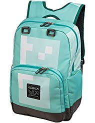JINX Minecraft Diamond Kids Backpack (Blue, 18) for School, Camping, Travel, Outdoors & Fun