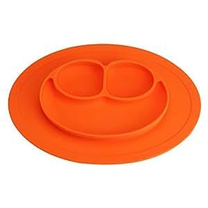 Platos de Silicona Alimentaria de Buena Calidad para Bebé y Niño Vajilla Placa Antideslizante con Compartimientos M Naranja