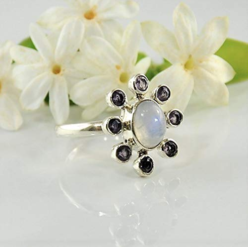 Amethyst Moonstone Ring - SIVALYA Moonstone and Amethyst Flower Ring for women in 925 Sterling Silver - Size 8 - Great Gift for Her