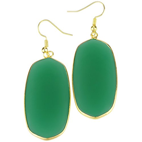 rockcloud Green Crystal Glass Dangle Hook Earrings Oval Gold Plated