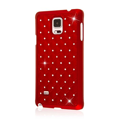 Samsung Galaxy Note 4 Case, EMPIRE GLITZ Slim-Fit Raised Edge Sleek Eye Catching Crystal Jewels Design Hard Galaxy Note 4 Case (1 Year Manufacturer Warranty) - Bling Accent Red (Note 4 Red Case Bling)