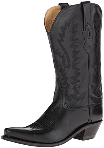 Old West Black Womens All Leather 12in Snip Toe Cowboy Western Boots 7.5 B