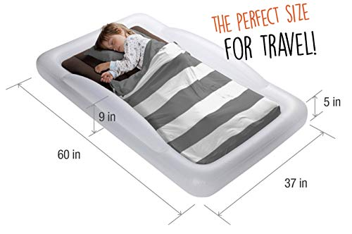 The Shrunks Toddler Travel Bed Portable Inflatable Air Mattress Bed for Travel, Camp or Home Use, Kids Size with Security Rails 60 x 37 x 9 inches - 2