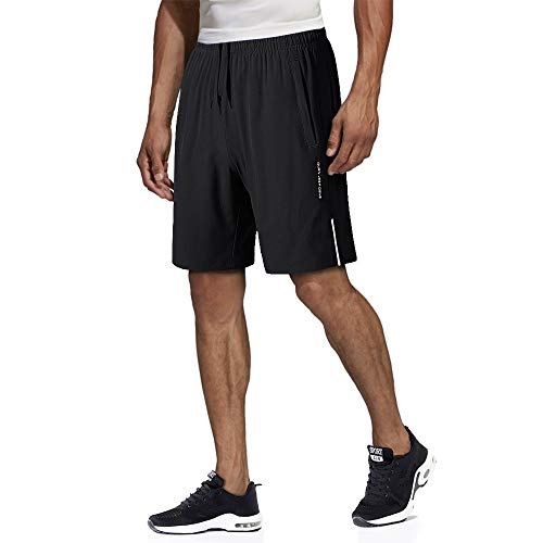 MAGNIVIT Men's Workout Gym Shorts Drawstring Quick-Dry Casual Shorts with Zipper Pockets Black