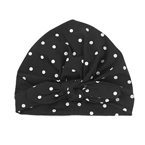(Shoresu Sweet Dot Baby Girls Hat with Bow Candy Color Baby Turban Cap Infant Accessories - Black)
