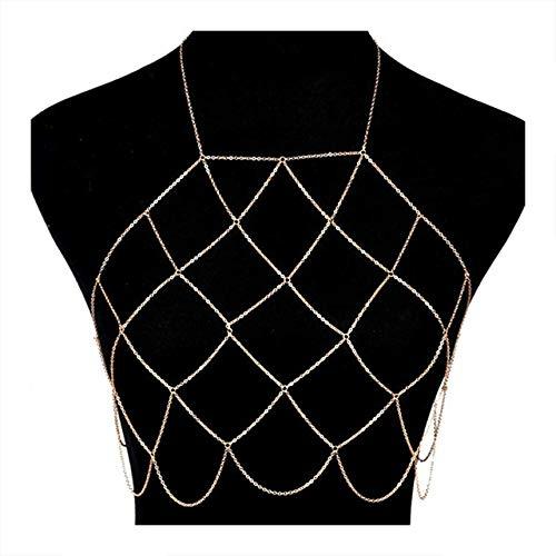 Boderier Women's Sexy Halterneck Mesh Body Chain Bralette Bikini Bra Necklaces Stomachers (Gold) ()