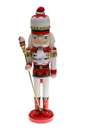 Candyland Strawberry King Nutcracker | Red and White Uniform with Strawberry Hat | Holding Cupcake Scepter | Festive Christmas Decor | Unique Addition for Any Collection | 100% Wood | 15