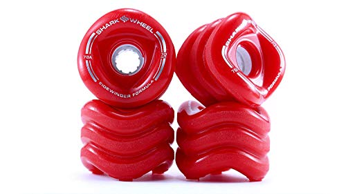 Shark Wheel Sidewinder 70mm 78A Traction Long Boarding Skateboard Wheels, Red