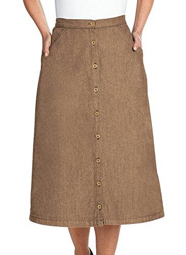 Denim Twill Button Front Skirt Sizes S M L (42 long), Color Khaki, Size - Skirt Front Twill Button