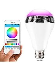 Lunvon Lampadina Bluetooth Altoparlante, LED Lampada Intelligente E27, Luce della Sera RGB/Audio Mini Altoparlante + Luci Multicolore - Funziona con IPhone, IPad, Apparecchi Android e Tablet
