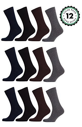 Mens Dress Socks 12 Pack Cotton Dress Socks Assorted Colors (10-13, SLD1)