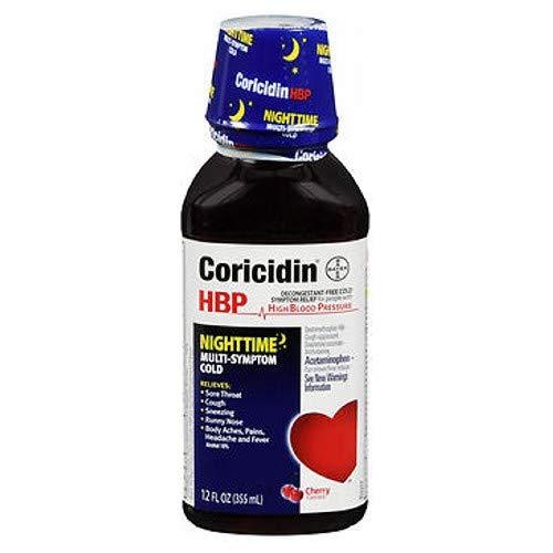 Coricidin HBP Nighttime Multi-Symptom Cold Liquid Cherry 12 oz (Pack of 2) ()
