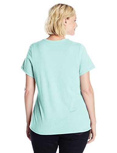 Champion's Frauen Plus-Size Dampf Cotton V-Neck Tee, Viridian Mint Heather, 1X