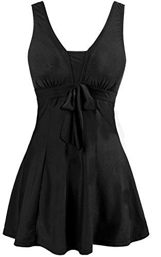 Wantdo Women's Cute Plus Size Summer Swimsuit Beach Living SwimMini Black US 10-12 Bowknot Low Rise Lace