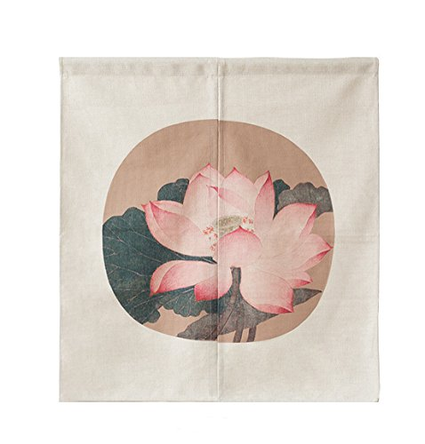 (LIGICKY Japanese Style Noren Doorway Curtain Short Cotton Linen Tapestry for Home Decoration 85 x 90cm (Vintage Lotus Flower))