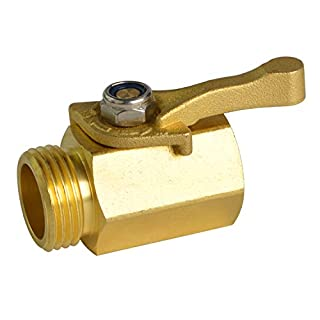 """HYDRO MASTER Heavy Duty 3/4"""" Brass Shut Off Valve with Large Handle, Full Flow Garden Hose Connector"""