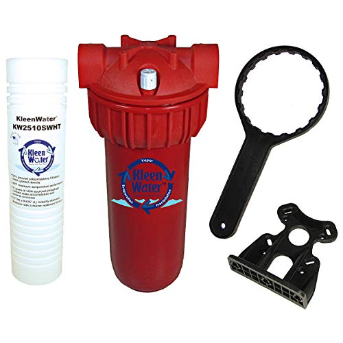 KleenWater Hot Water Filter System, 5 Micron High Temperature Cartridge with Scale Inhibitor, Mounting Bracket and Filter Wrench