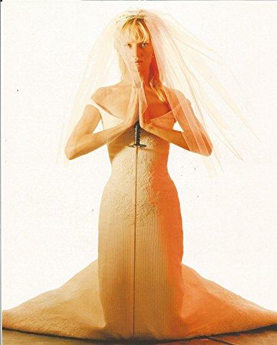 Kill Bill Uma Thurman with sword in wedding dress on knees - 8 x 10 inch Promo Photo - 004 (Kill Thurman Bill Photo Uma)