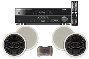 "Yamaha 3D-Ready 5.1-Channel 500 Watts Digital Home Theater Audio/Video Receiver with 1080p-compatible HDMI repeater & Upgraded CINEMA DSP + Yamaha Custom Easy-to-install Natural Sound In-Ceiling Flush Mount 2-Way 120 watt 2 Speaker Set (1 Pair) with 1"" Tweeters & 8"" Woofer + 100ft 16 AWG Speaker Wire"