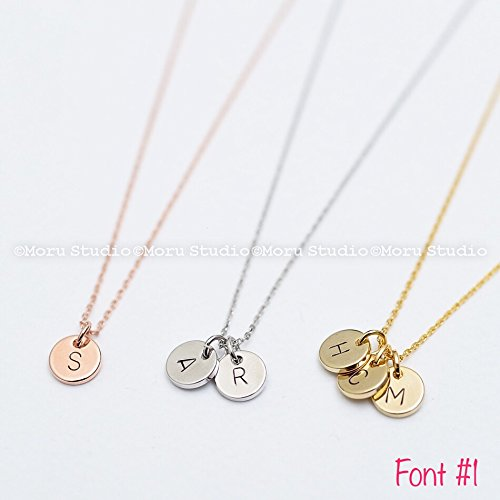 Mommy Tag Necklace - Custom Initial Disc Necklace/Hand Stamped Letter Necklace, Rose Gold Coin Tag, Personalized Monogram Name Necklace, Teen Aunt Grandma Mommy Gift, Personalized Jewelry NCR 053