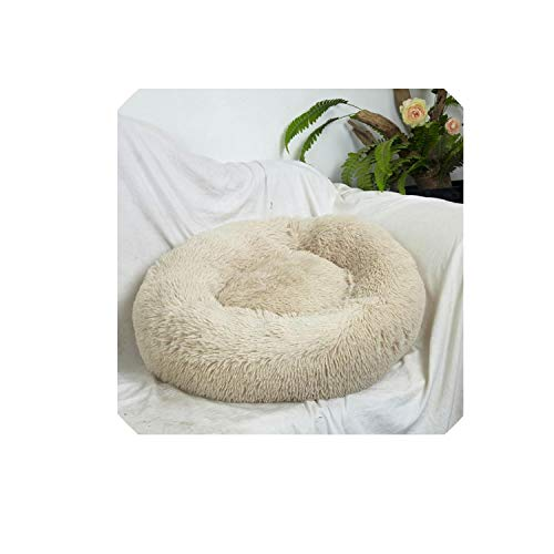 (madows Donut Cat Bed, Faux Fur Dog Beds for Medium Small Dogs - Self Warming Indoor Round Pillow Cuddler,Khaki,OD 70 x20cm)