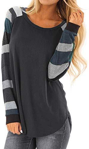 PINUPART Women's Casual Long Raglan Sleeve Wide Striped Printed Cotton Jersey Tops S Grey