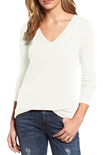 Pink Queen Women's V-Neck Cashmere Wool Blending Ribbed Knit Pullover Sweaters (S, White)