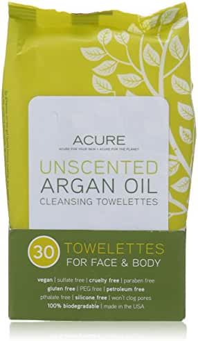 Acure Organics Argan Oil Cleansing Towelettes Unscented -- 30 Towelettes