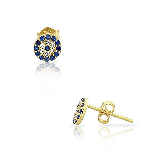 (925 Sterling Silver Yellow Gold-Tone White Blue CZ Evil Eye Hamsa Small Womens Girls Stud Earrings)