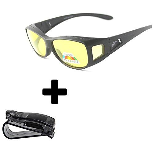 Price comparison product image Fit Over Night Vision Driving Glasses Anti Glare polarized +car clip holder