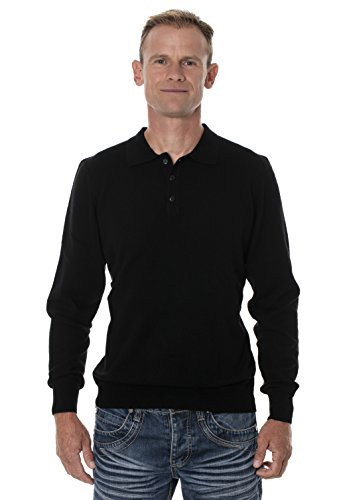 Ugholin Men's 100% Yak Wool Long Sleeve Knit Polo Sweater