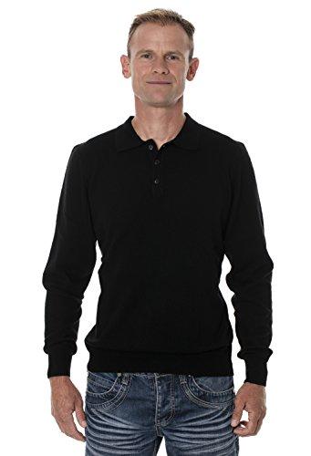 Ugholin Men's 100% Yak Wool Long Sleeve Knit Polo Sweater