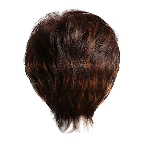 (Women's New Short Hair Brown Wig Fashion Natural Soft Role-playing Party Supplies- By Jauntly (Brown))