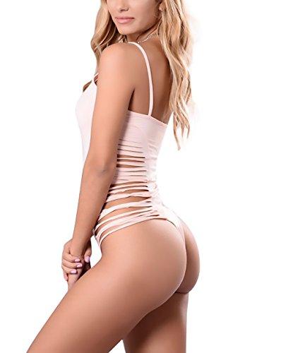 Smanicato Body Pink Bodysuit Spaghetti Chic Tuta Top Colore Estivi Di Eleganti Fit Elastico Donna Strappati Slim Puro Tute Cinghia Cute qwaYxHgcFd