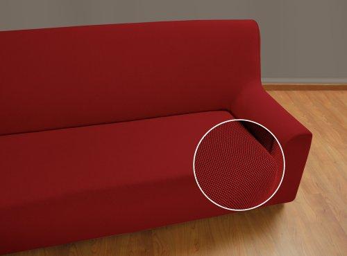 Velfont 3-er Sofabezug, Universal Rotbraun bielastisch