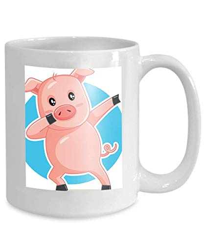 mug coffee tea cup funny dabbing pig cartoon dancing piggy mascot logo character design Charming 110z