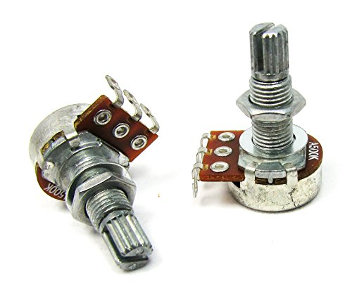 2-pack 500KOhm Long-Shaft Guitar Volume Potentiometers (Pots) - Audio-Taper