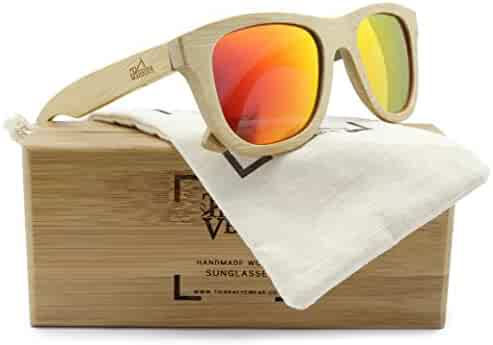 6db534771b1b Tierra Verde TA1001 Floatable Polarized Sunglasses Bamboo Wood w Orange  Mirror (01 69