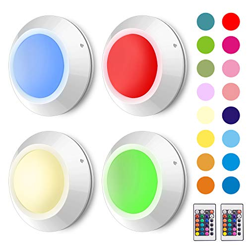 HONWELL16 Colors Changing LED Puck Lights Tap Lights Remote Controlled RGB Night Light Battery Operated Closet Lights for Bedroom Cabinet Christmas Party Decorative Light-4PACK