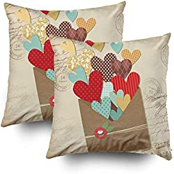 Shorping Zippered Pillow Covers Pillowcases 18x18Inch 2 Pack Retro Scrapbooking Elements Valentine Card Decorative Throw Pillow Cover Pillow Cases Cushion Cover for Home Sofa Bedding