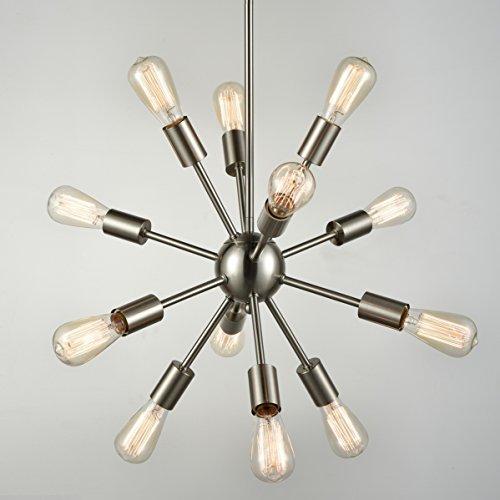 Cheap Dazhuan Vintage Metal Sputnik Large Chandelier 12-Lights Pendant Hanging Lighting Nickel Plated