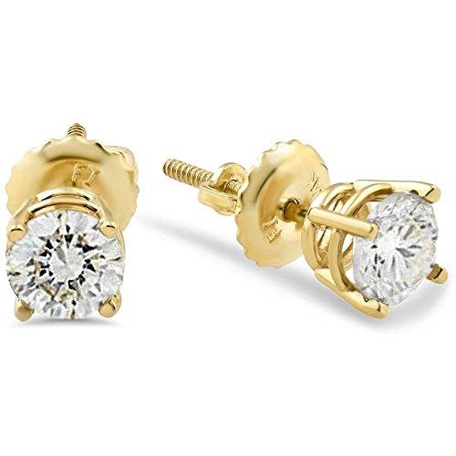 - 1/2ct Diamond Studs Screw Back Earrings 14k Yellow Gold