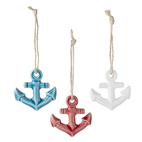 Set of 3 Assorted Midwest CBK Ceramic Coastal Ornaments on Jute Rope Hangers (Anchors) -